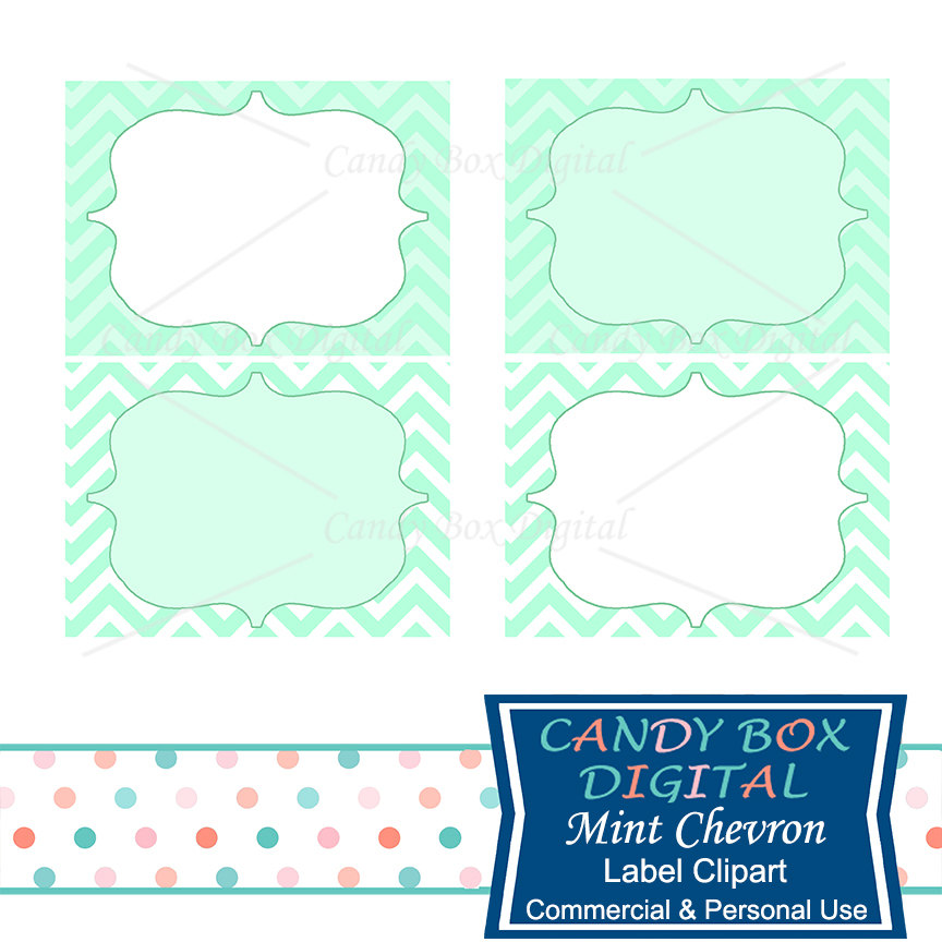 864x864 Mint Label Clipart, Green Chevron Digital Frame Clip Art