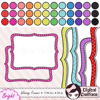 350x350 Bracket Frame Clipart Bundle, With Chevron, Stripes Amp Polka Dots