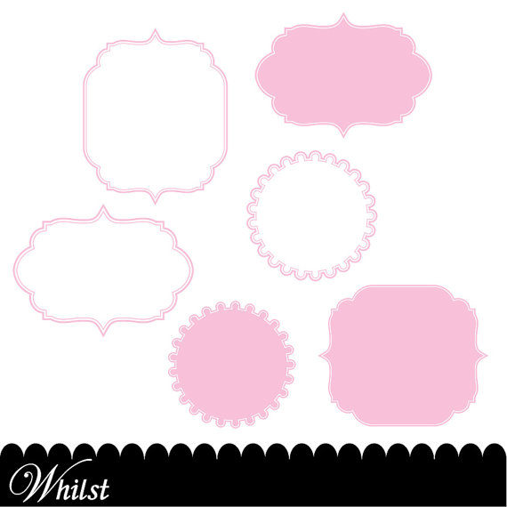 570x570 Pink Digital Paper Frame Baby Pink Chevron Photo Circle Digital