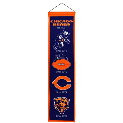 500x500 Chicago Bears Logo Evolution Heritage Banner