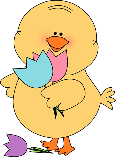 406x550 Chick With Tulips Clip Art
