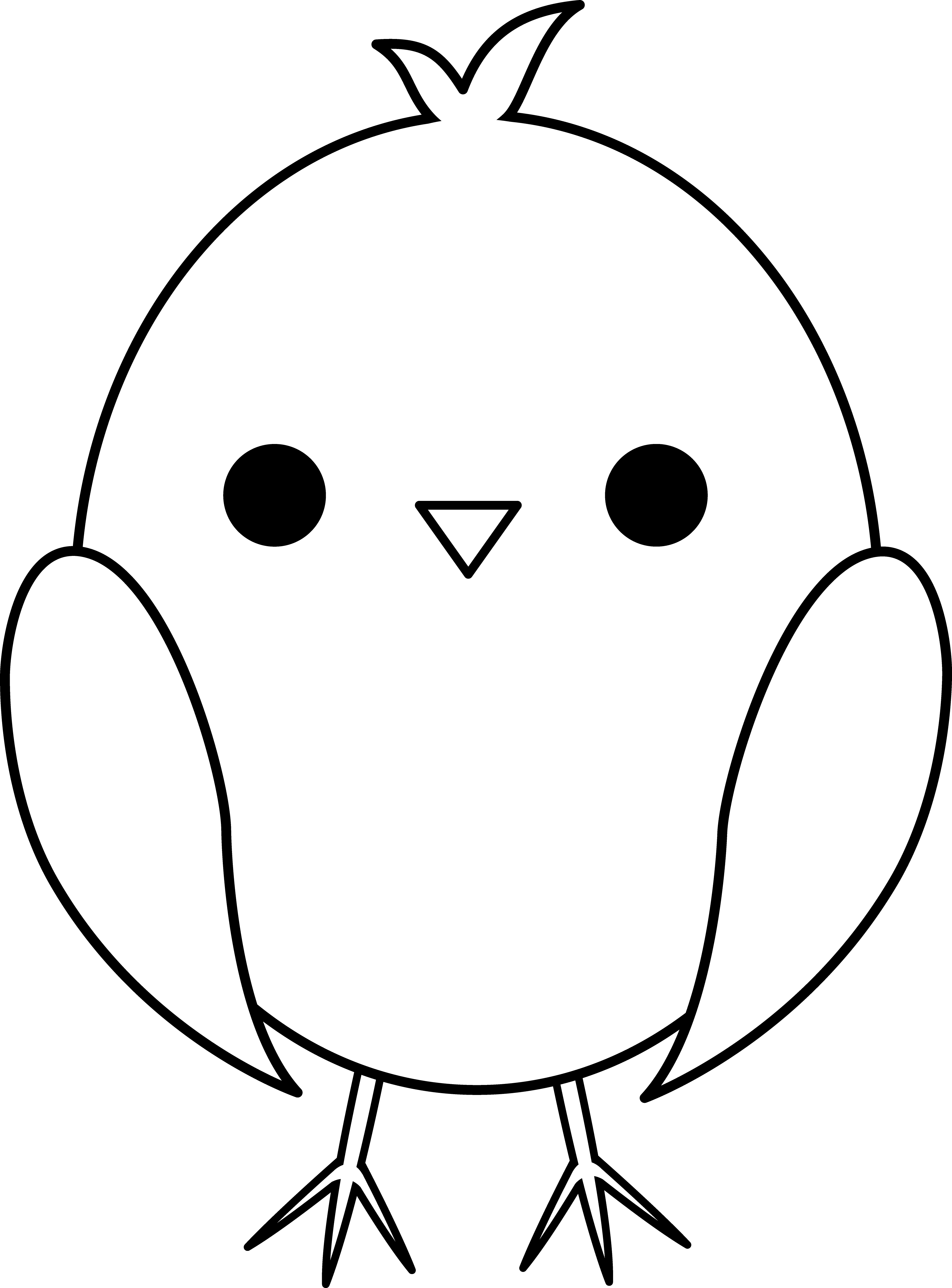 3615x4891 Cute Baby Chick Line Art