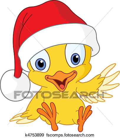 407x470 Clip Art Of Christmas Chick K4753899