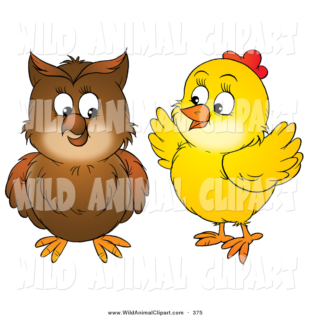 1024x1044 Clip Art Of A Yellow Chick Talking To A Brown Owl On White By Alex