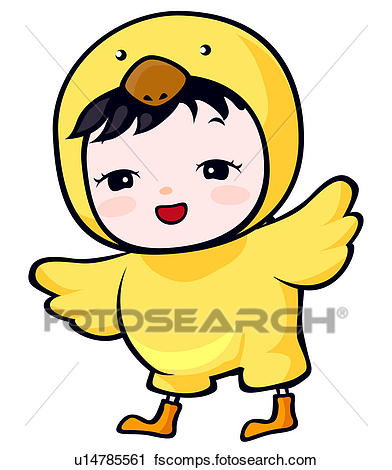 392x470 Clipart Of Child Dressed In Baby Chick Costume U14785561