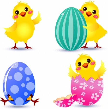 450x454 Easter Chick Set Free Vector In Adobe Illustrator Ai ( Ai