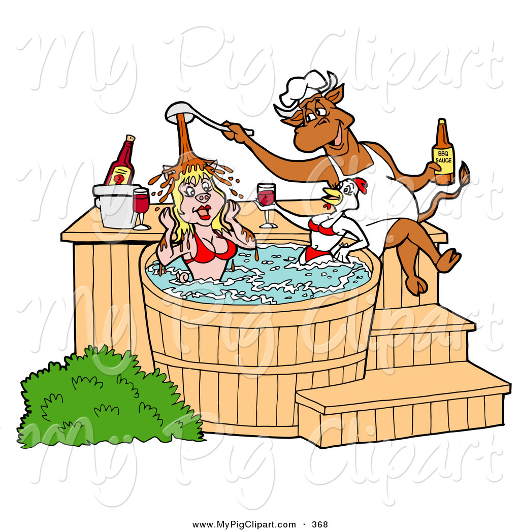 1024x1044 Swine Clipart Of A Hungry Chef Bull Pouring Bbq Sauce On A Female
