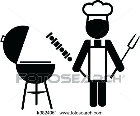 450x372 Bbq Clipart Of A Cartoon Black And White Nude Man Wearing An Apron