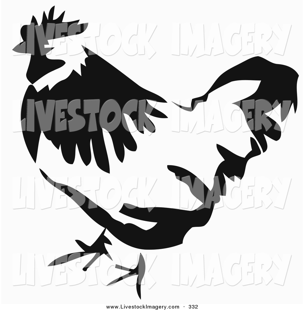 1024x1044 Clip Art Of A Black And White Paintbrush Stroke Styled Chicken
