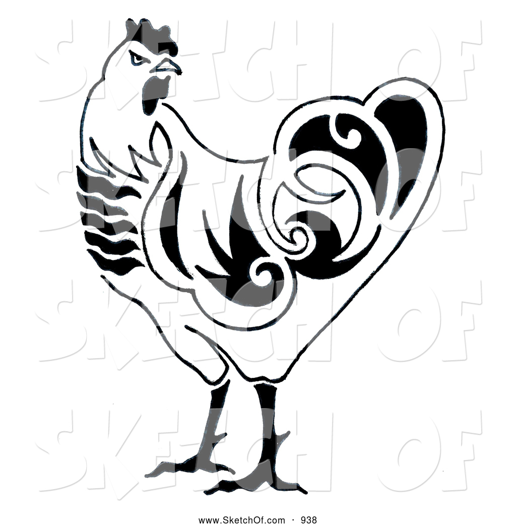 1024x1044 Drawing Of A Black And White Chicken By Loopyland