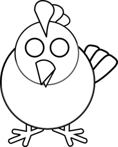 240x299 Black And White Chicken Clip Art