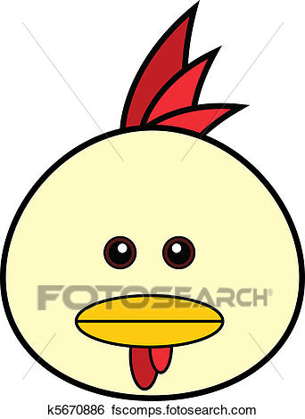 342x470 Clip Art Of Cute Chicken Face K5670886