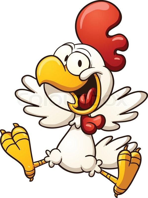 598x800 Happy Cartoon Chicken. Vector Clip Art Illustration With Simple