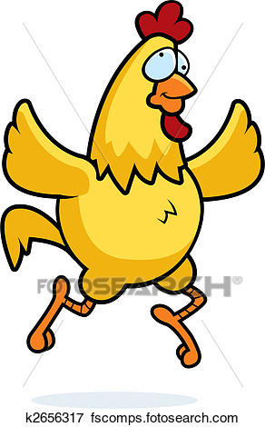 292x470 Clip Art Of Chicken Running K2656317