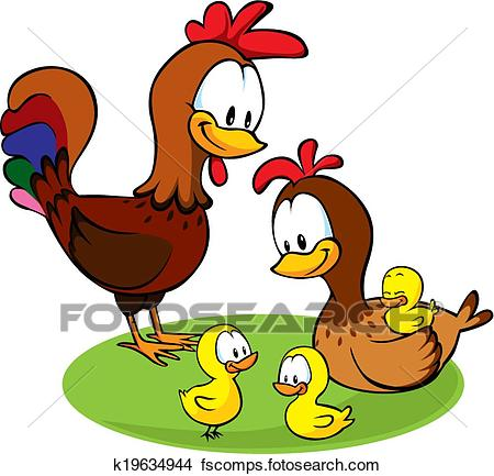 450x433 Clipart Of Rooster, Hen And Chickens K19634944