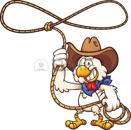 450x448 Rooster Cowboy Chicken With Lasso. Vector Clip Art Illustration