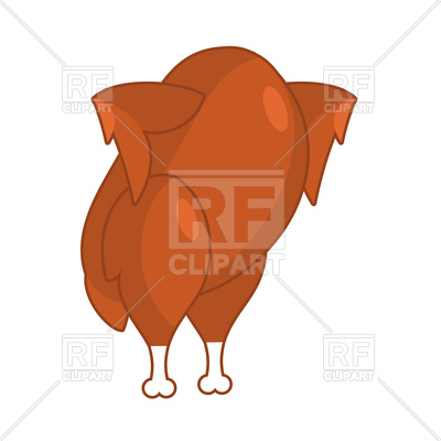 400x400 Roasted Turkey On Hind Legs. Baked Chicken. Vector Clipart Image