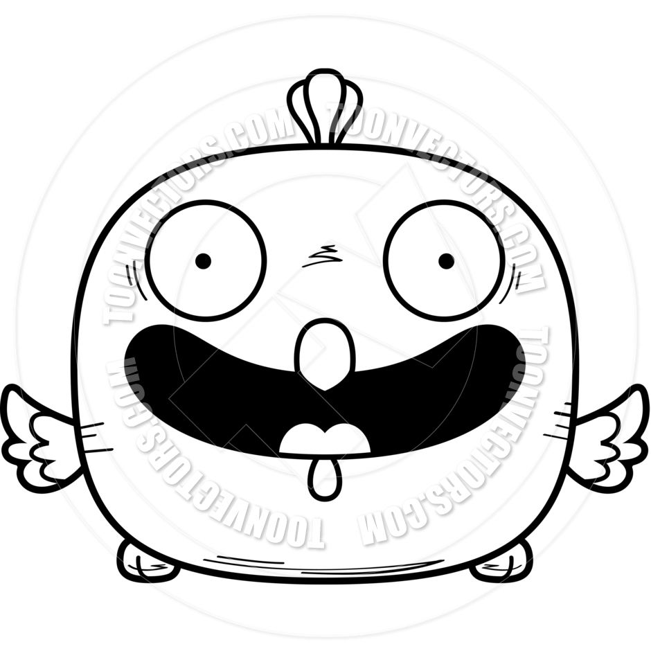 940x940 Cartoon Little Chicken Smiling (Black Amp White Line Art) By Cory
