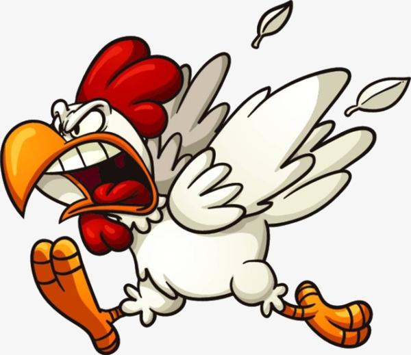 600x519 Cartoon Frightened Chicken, Cartoon, Frightened, Chicken Png Image