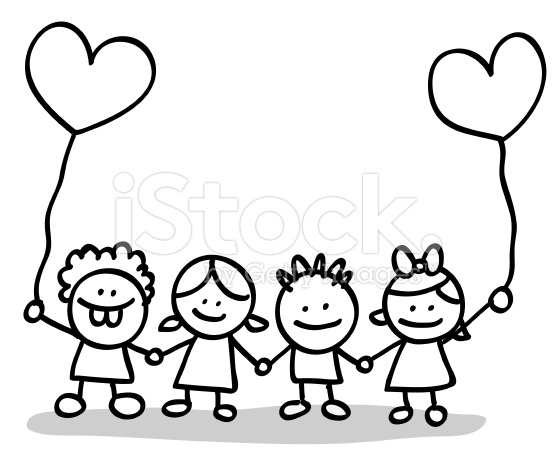 School Children Black And White Clipart