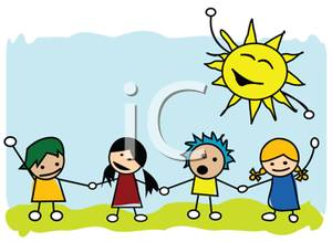 300x219 Holding Hands Under A Dancing Sun Clipart Picture