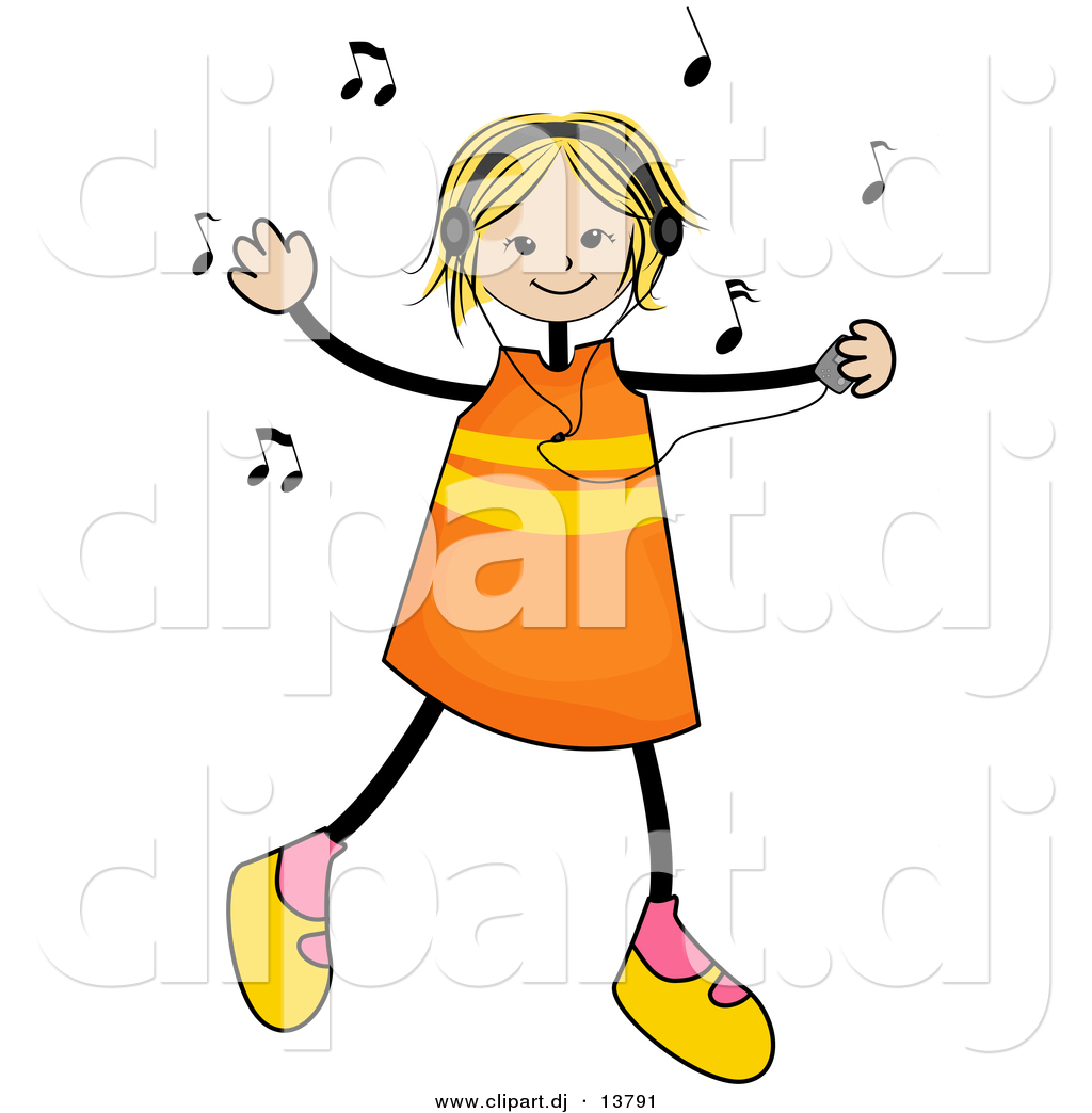 1024x1044 Vector Clipart Of A Stick Girl Listening To Music And Dancing By