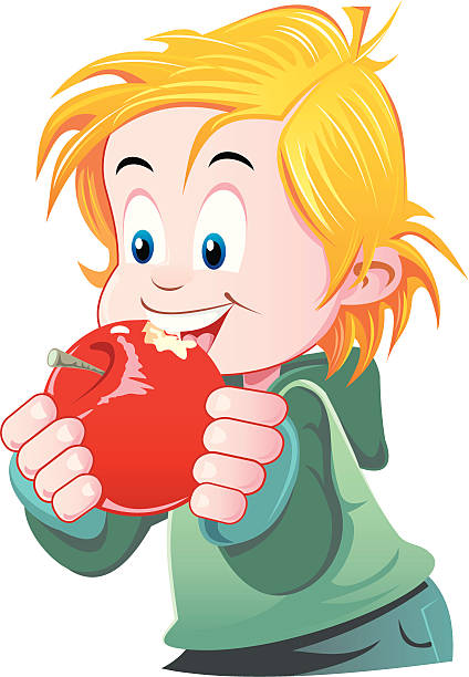 424x612 Child Eating Apple Clipart