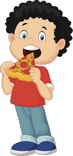 287x612 Child Eating Pizza Clipart