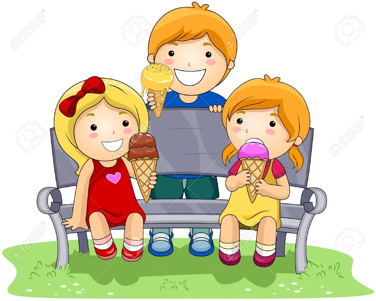 1300x1041 Children Eating Ice Cream In The Park Stock Photo, Picture