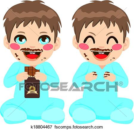 450x435 Clip Art Of Baby Boy Eating Chocolate K18804467