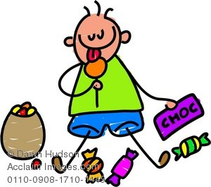 300x265 Clipart Illustration Of A Little Boy Enjoying Eating A Bag Of Sweets