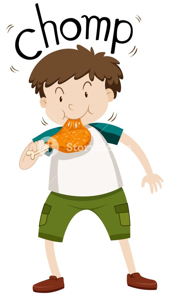 572x1000 Fat Boy Eating Chicken Illustration Royalty Free Stock Image