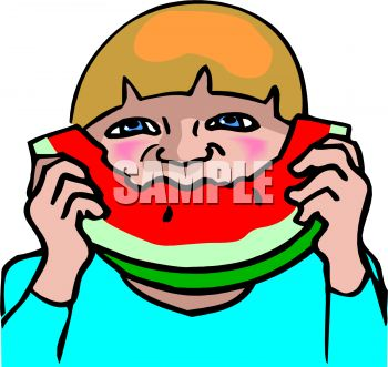 350x331 Royalty Free Clip Art Image Child Eating Watermelon