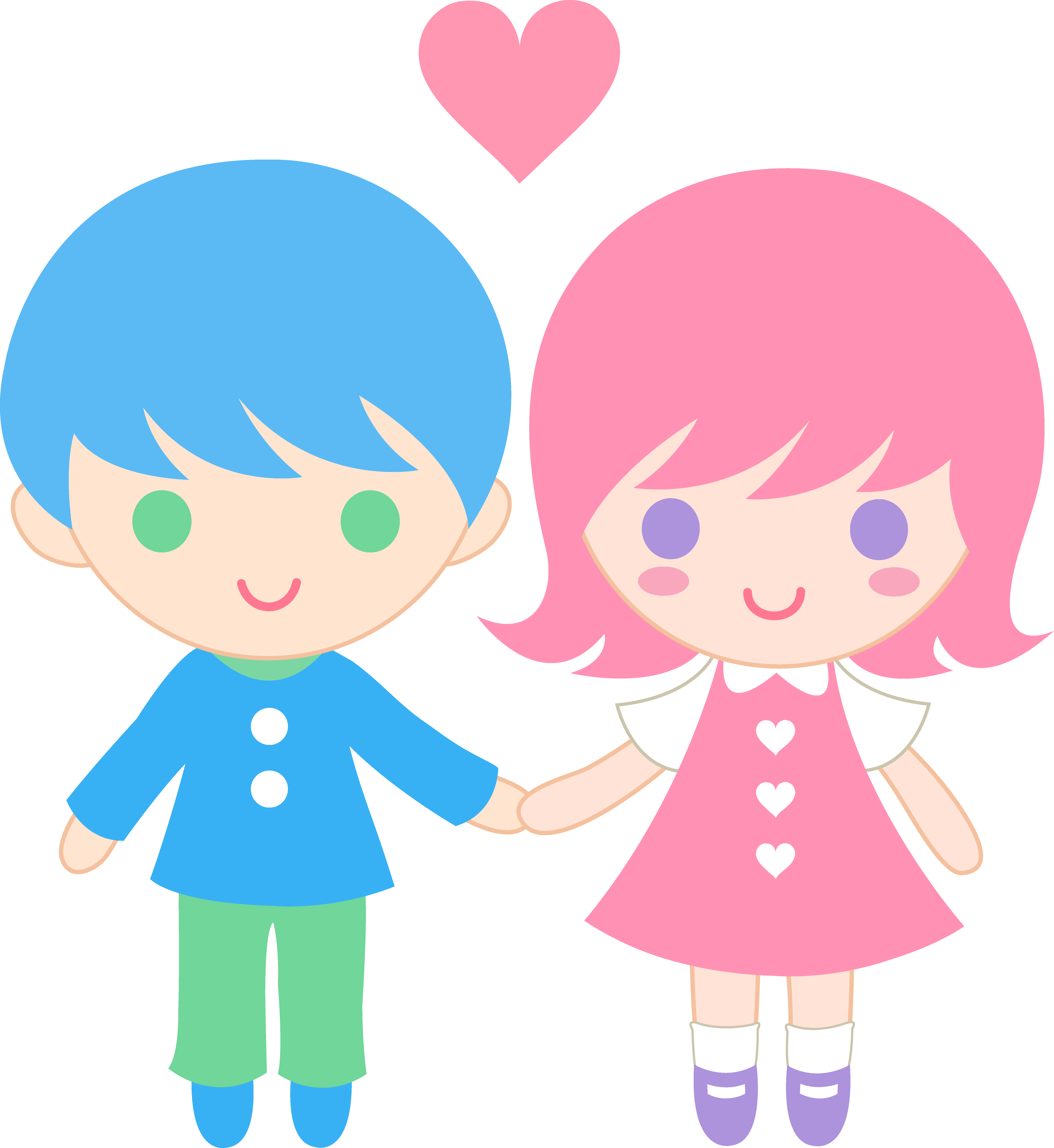 6037x6575 Cute Clip Art Of A Little Boy And Little Girl Holding Hands