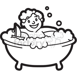 300x300 Royalty Free Boy In The Bathtub Black And White Outline 397939