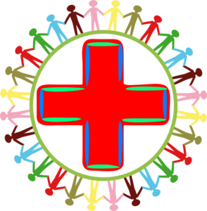 294x300 Children Surrounding A Plus Sign Clip Art