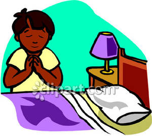 300x267 African American Boy Praying By His Bedside