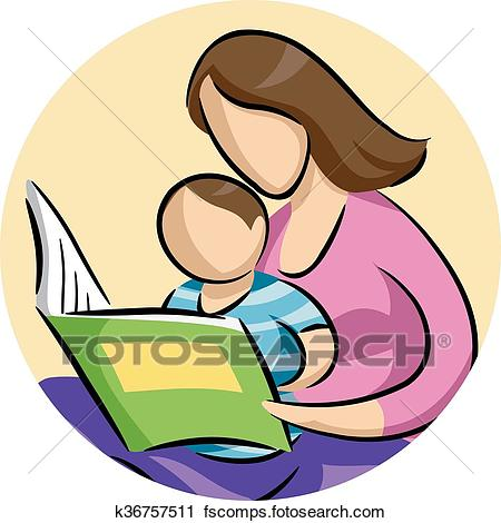 450x470 Clipart Of Mom Child Read Book K36757511
