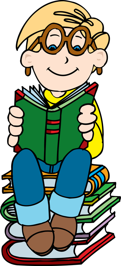409x900 Child Reading A Book Clipart