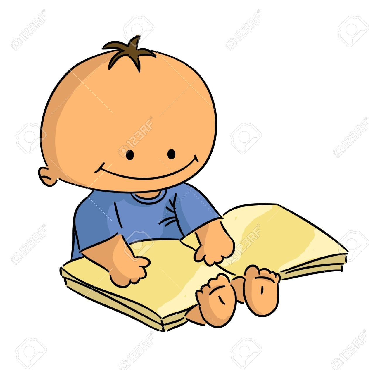 Baby reading. Child book clipart free