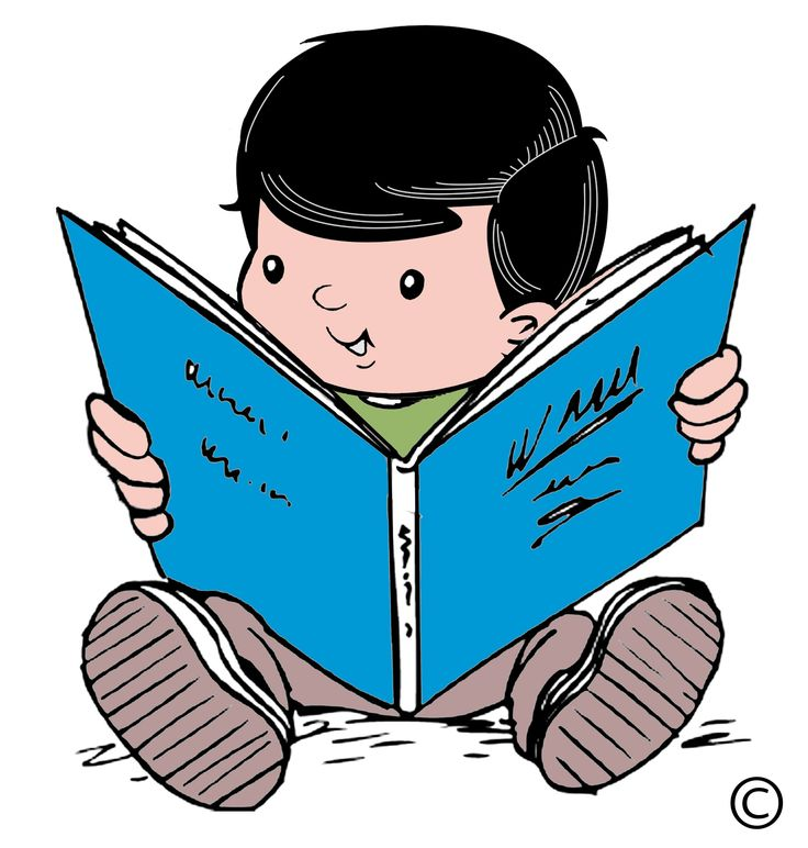 Child Reading Cartoon Clipart