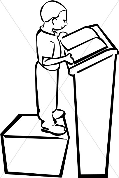Child Reading Clipart Black And White