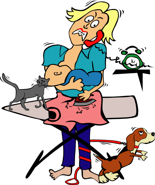 498x596 Busy Mom With Child And Pets Clip Art