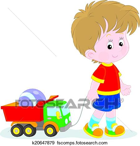 450x469 Clip Art Of Boy Walking With Toys K20647879