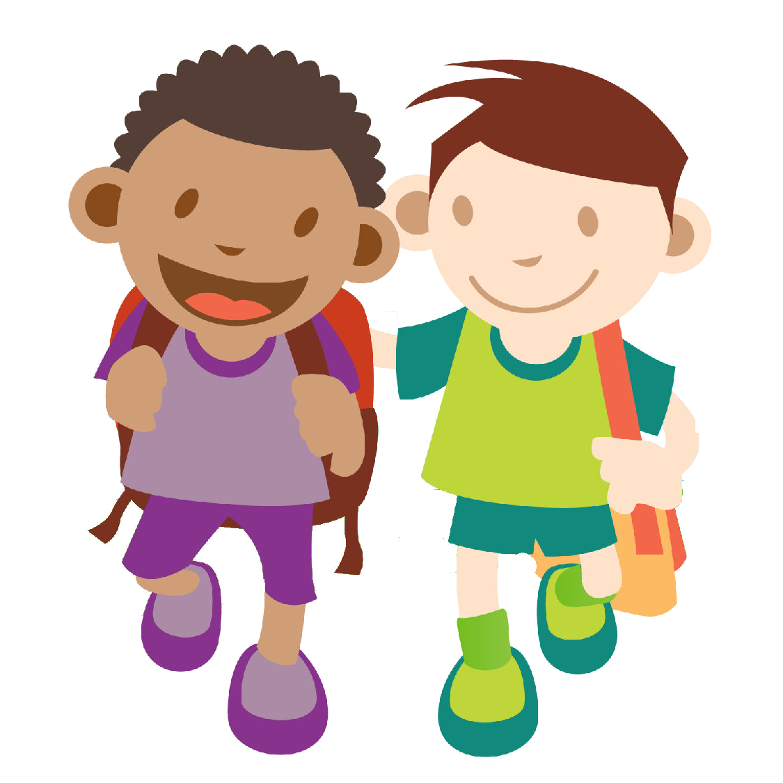1125x1125 Kids Walking Clipart