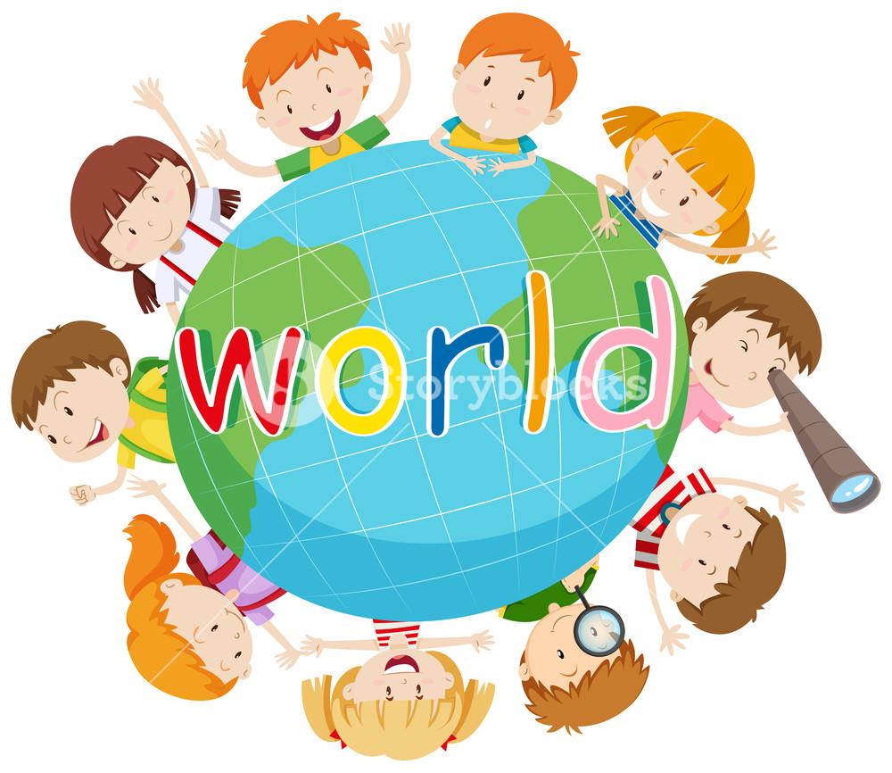 1000x866 Children Smiling Around The World Illustration Royalty Free Stock