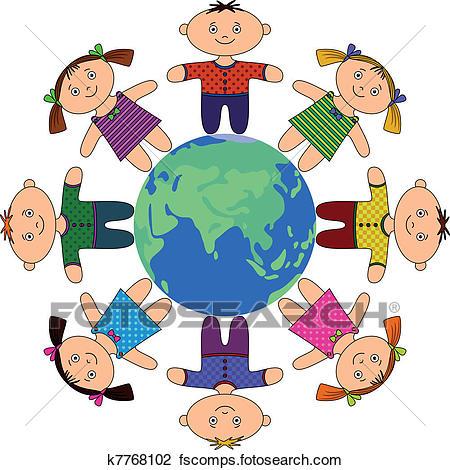 450x470 Clipart Of Children Standing Around Earth K7768102