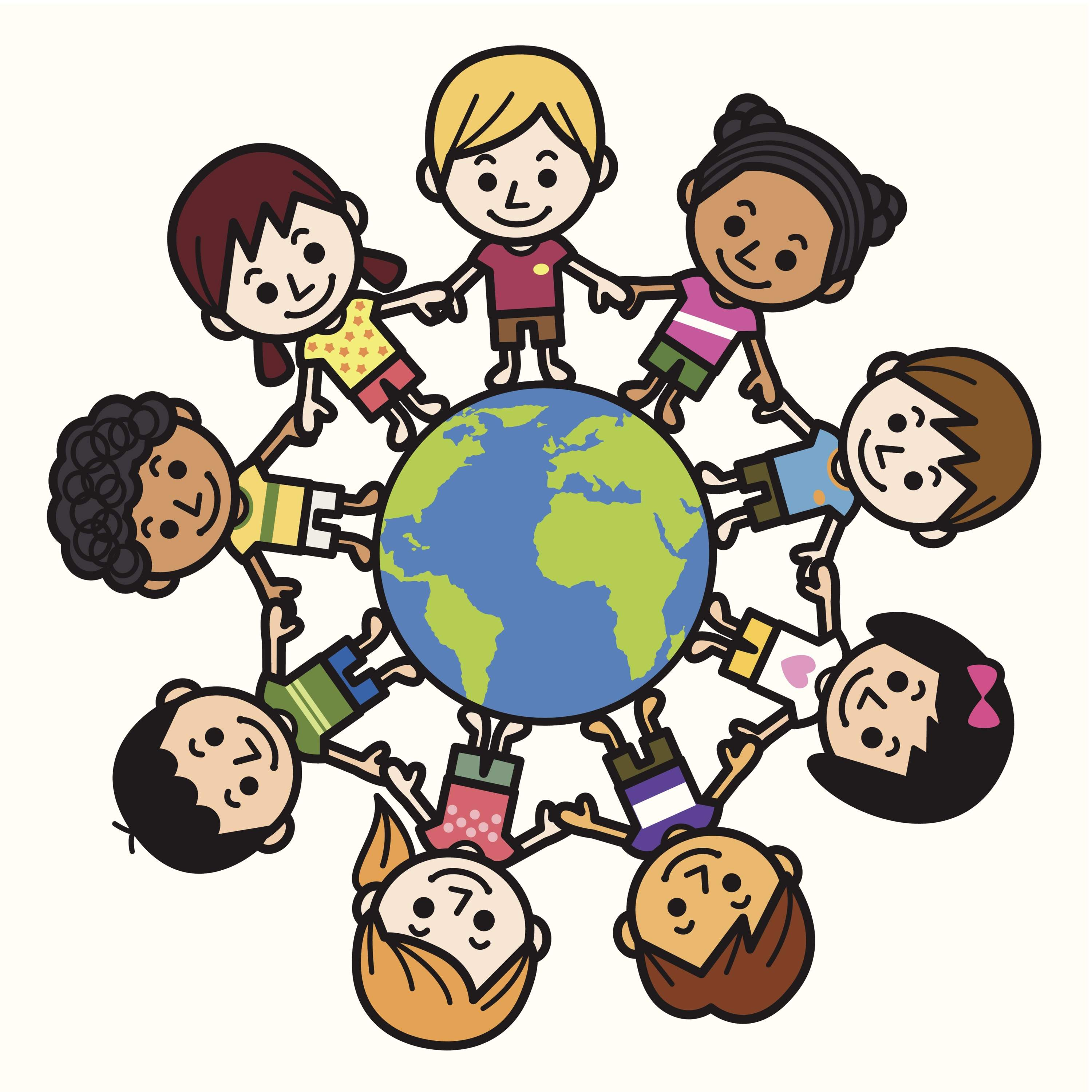 3000x3000 Happy Smiling Multicultural Kids Around The World Clipart