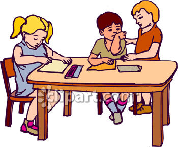 350x290 Kids Writing In School Clipart