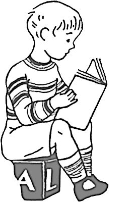 264x400 Children Reading Clipart Black And White